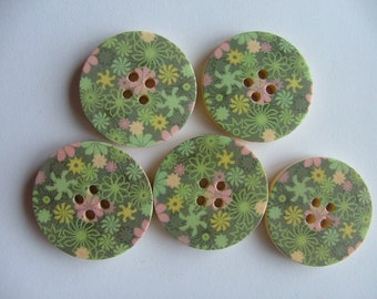 Pink and Green 3cm Painted Wooden Buttons