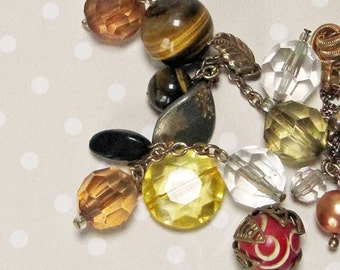 Mixed Vintage Retro Beads and Bits Including 2 Tiger's Eye Beads - Perfect for your Steampunk Mixed Media Art Project
