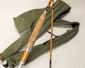 Vintage Unused E. Egginton & Sons Split Bamboo Fly Fishing Rod Pole and Canvas Bag