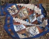 Lap Quilt, Sofa Quilt - Log Cabin American Wildlife