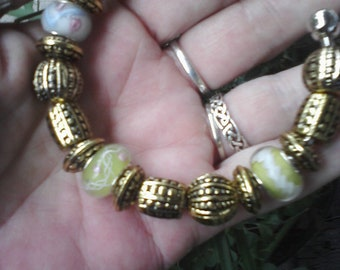 Classic gold and Murano glass, Euro style bracelet