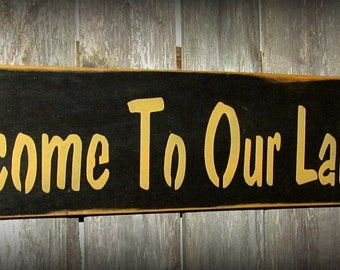 Wooden Lake Sign, Welcome To Our Lake House, Camp decor, lakehouse decor, wooden wall hanging, Lakehouse Housewarming Gift, Lake Living