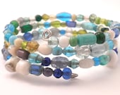 Wrap Around Bracelet in Blue Hues of Mixed Glass Beads