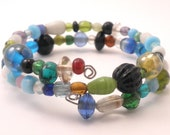 Wrap Around Bracelet in Blue Green Mixed Glass Beads