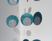 Garland -Turquoise and Silver  Glitter, Holidays, Birthdays, Weddings, Showers, Photobooth, Back drop Parties. 10  Feet