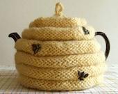 Knitting Pattern-Spouted Beehive Tea Cozy, knit tea cozy pattern, knit tea cosy pattern, knit bee skep pattern, PDf pattern