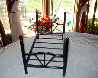 Vintage Doll Bed Metal Black