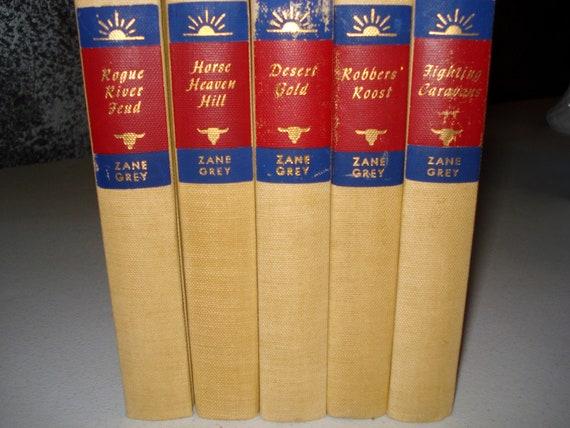 Vintage Zane Grey Books 5 Western Fiction