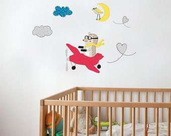 Olly the Aviator - kid wall decal