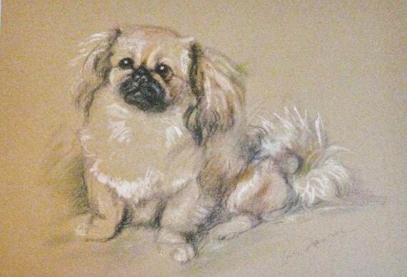 Signed mounted 1946 Lucy Dawson Koko Pekingese Pekinese Peke dog plate print Unique gift