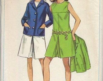 UNCUT Simplicity Sewing Pattern 7528 for Pantdress and Jacket, Sz 14, 1960s