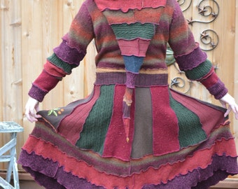 Hag Rags.... Upcycled Sweater Coat......Harvest Blessings.....Autumn tones....L_XL...