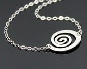 SPIRAL Of LIFE Necklace in Sterling Silver, Swirl Circle Necklace, Symbolic Necklace Pendant, Simple Silver Necklace.