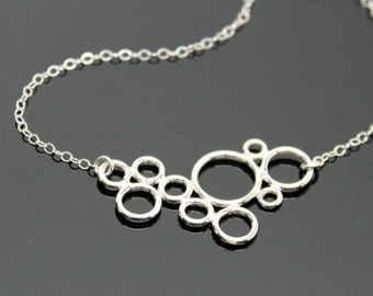 CIRCLE Necklace - STERLING SILVER, Bubble Circle Necklace, Cluster of Circle Necklace.