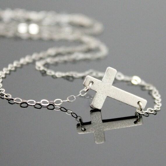 STERLING SILVER Sideways CROSS Necklace, Cross Silver Necklace, Matte Stardust Finish, Medium Sideways Cross.