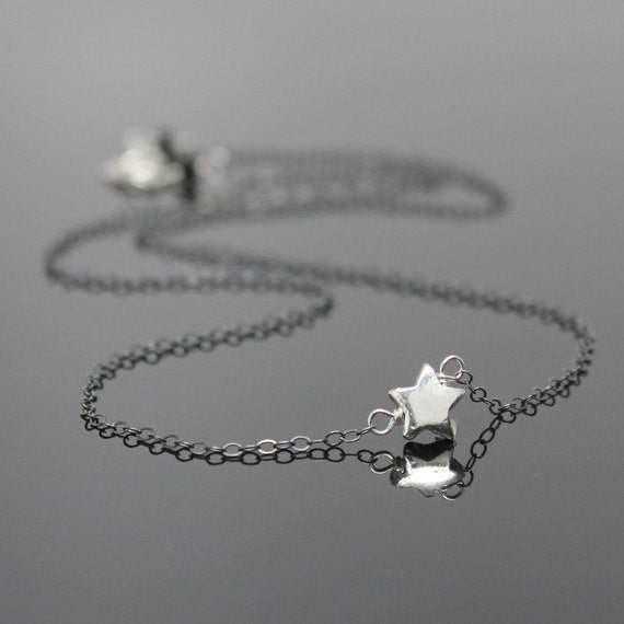 TINY STAR Necklace - Oxidized Sterling Silver, Silver Star Necklace Pendant, Make A Wish, Graduation Gift.