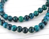 """Full Strand Malachite Azurite Beads ----- 6mm ----- about 70Pieces ----- gemstone beads--- 15.5"""" in length"""