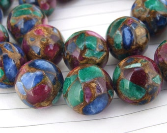"""One Full Strand -- Charm Round Zambian Rainbow Jade Stone Gemstone Beads--- 14mm ----about 28Pieces---- 15"""" in length"""