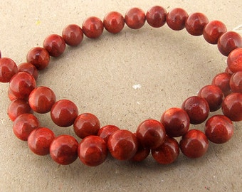 Red Sponge Coral Beads --- 10mm --- Round Ball beads --- 39 Beads --- Hole 1mm --- 16 inch Full strand