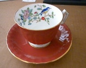 Vintage Tea Cup, Aynsley Made in England, Tea Cup and Saucer, Rust color