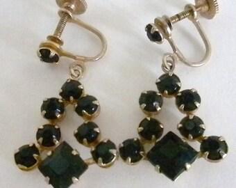 Antique Earrings, Black, Screw Type Earrings, 1940