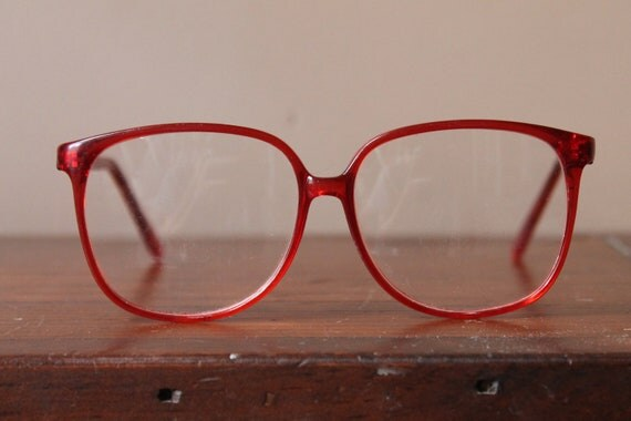 80s Round, Red Sally Jesse Raphael Eye Glasses