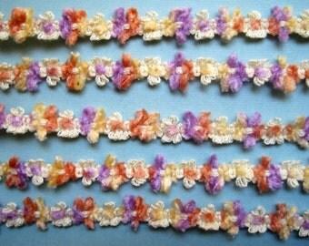 "Chenille Rococo Decorative Braid, Lilac / Maize / Orange, 1/2"" inch, 1 Yard, For Scrapbook, Mixed Media, Stationary, Home Decor, Accesories"