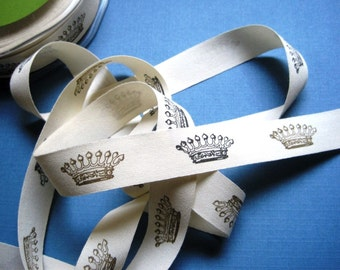 """Crowns Canvas Ribbon Trim, Gold / Black/ Ivory, 3/4"""" inch wide, 1 yard, For Scrapbook, Mixed Media, Home Decor,Stationary"""
