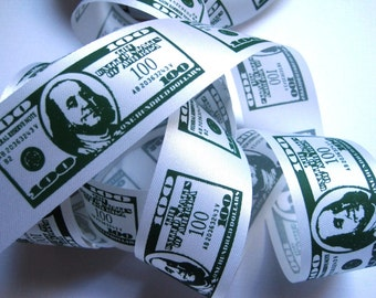 """American Money Dollar Bills Ribbon, Green / White, 1 3/8"""" inch wide, 1 yard, For Mixed Media, Scrapbook, Home Decor, Accessories"""