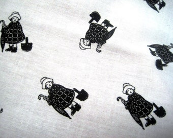 "Madeline Dolls Allover Children Fabric, Fat Quarter, Black / White, 18"" X 22"" inches, 100% Cotton, For Victorian & Romantic Projects"