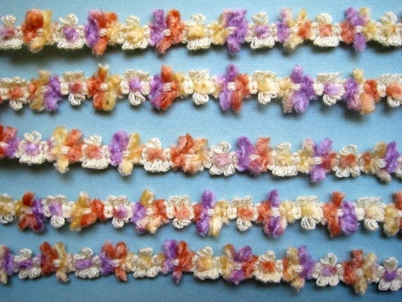 "Chenille Rococo Decorative Braid, Lilac / Maize / Orange, 1/2"" inch, 1 Yard, For Scrapbook, Mixed Media, Stationary, Home Decor, Accesories"