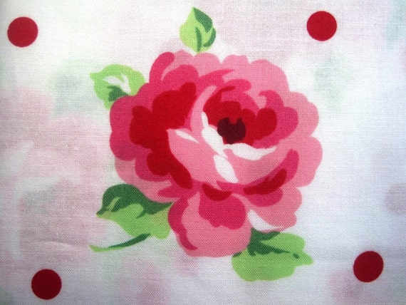 "Cottage Floral Fabric, Roses and Dots, Fat Quarter,  Multicolor / White, 18"" X 22"" inches, 100% Cotton, For Victorian & Romantic Projects"