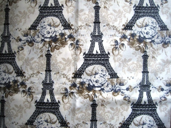 "Paris France Eiffel Tower Fabric, Fat Quarter, Black / Cream, 18"" X 22"" inches, 100% Cotton, For Victorian & Romantic Projects"