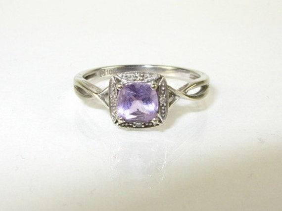 Art Deco Amythest and Diamond 10k ring