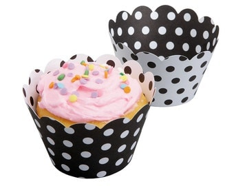 12 Reversible Polka Dot Cupcake Wrappers - Black and White