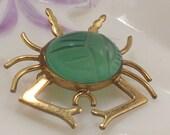 Gold Filled Green Jade Scarab Crab Pin