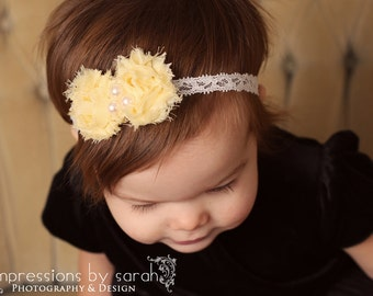 baby girl yellow headband..yellow headband.. shabby headband