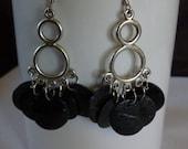 Cowgirl Western Chunky Black Shell Chandelier Earrings