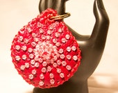 Sale. Leather keychain or luggage tag with beads. Ready to ship.