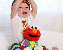 Baby boy 1st Birthday onepiece bodysuit and crochet hat set, Elmo, Photo Prop, Birthday Outfit, Sesame Street, First Birthday Outfit