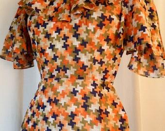 60s RARE Ginza couture Tokyo Japanese mid-century  cross pattern angle wing ruffle collar dress orange navy : size 2-4 Xsmall