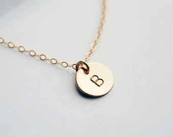 Initial GOLD Filled Necklace,monogram necklace,Everyday daily Jewelry,Birthday gift,Bridesmaids necklace,hand stamped initial,font choices