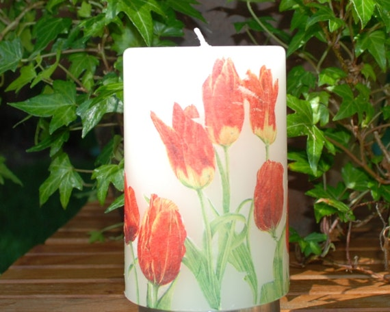 "4.2"" Tulip Decorated Pillar Candle"