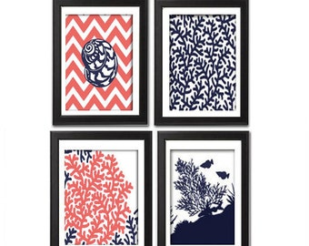 Digital Print Beach House Prints Navy Blue Coral White Wall Art Vintage / Modern Inspired -Set of (4) -5x7 Prints -  (UNFRAMED)