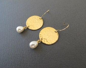 Dangle Pearl Earrings, gold disc earrings with fresh water pearl ,teardrop pearl- hammered earrings ,pearl earrings