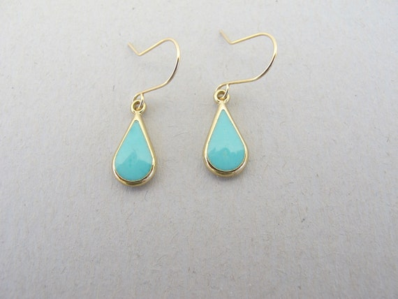 Turquoise earrings ,gold frame turquoise color teardrop , Gold-filled earwire-Color of fashion  summer 2014