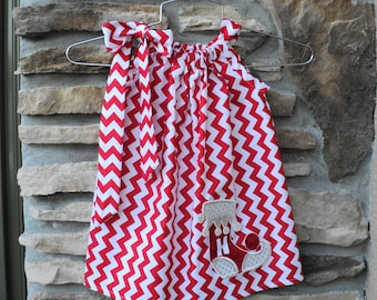 Custom Boutique Personalized Chevron Christmas Stocking Pillowcase dress   Sizes 0-6mo, 6-12mo, 12-18mo, 18-24mo, 2t, 3t, 4t