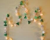 Paper Pyramid Lanterns - RAINFOREST IN WINTER - handmade geometric fairy lights in emerald, cement, cardinal, and copper - modern home decor