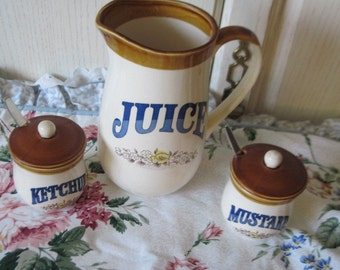 Juice Pitcher With Mustard and Ketchup Set  :)Marked Down to clear out *~*