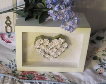Sweet Wooden Box with Pretty White Flowers in a  Heart in Glass Made in Thailand :)Mothers Day Gift SALE CLEARINGOUT25 must use at check out